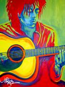 Dreadlock Posters - Bob Marley on Acoustic Guitar Poster by Maria Gabriela Brazley