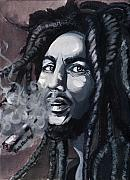 Smoking Paintings - Bob Marley Portrait by Alban Dizdari