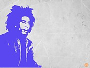 Singer Painting Posters - Bob Marley Purple 3 Poster by Irina  March