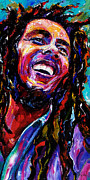 Jazz Paintings - Bob Marley Reggae Portrait by Debra Hurd