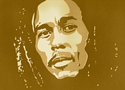 Silk Screen Print Prints - Bob Marley Sepia Print by Siobhan Bevans