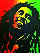 Screen Print Metal Prints - Bob Marley Smile Metal Print by Siobhan Bevans