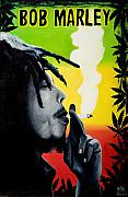 Bob Marley Painting Originals - Bob Marley smoking by Jocelyn Passeron