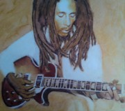 Legend  Pastels - Bob Marley Strummin by Mandy Thomas