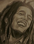 Music Legend Drawings Posters - Bob Marley Poster by Terrence ONeal