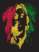 Bob Marley Abstract Prints - Bob Marley Typography Black  Print by Jimi Bush