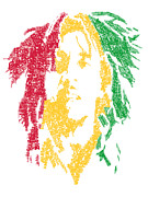 Bob Marley Abstract Prints - Bob Marley Typography  Print by Jimi Bush