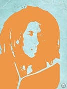 Bob Marley Portrait Posters - Bob Marley Yellow 2 Poster by Irina  March