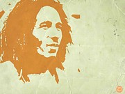 Singer Painting Posters - Bob Marley Yellow 3 Poster by Irina  March