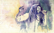 Watercolour Painting Metal Prints - Bob Marley Metal Print by Yuriy  Shevchuk