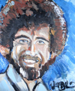 Van Dyke Brown Painting Metal Prints - Bob Ross  Metal Print by Jon Baldwin  Art