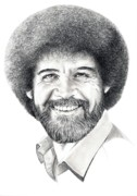 Pencil Portrait Drawings Prints - Bob Ross Print by Murphy Elliott