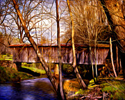 Covered Bridge Mixed Media Prints - Bob White Covered Bridge Print by Lisa and Norman  Hall