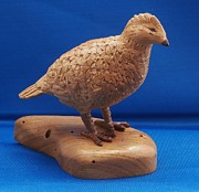 Wood Carving Sculpture Posters - Bob White Quail Poster by Russell Ellingsworth