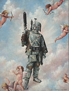 Boba Fett Paintings - Boba Fett and the Cherubs by Jean Alexander