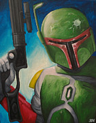 Movie Art Paintings - Boba Fett by Stephanie Moore
