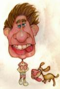 Caricature Framed Prints - Bobblehead No 22 Framed Print by Edward Ruth