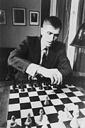 Chessboard Posters - Bobby Fischer 1943-2008 Competing At An Poster by Everett