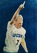 Soccer Painting Framed Prints - Bobby Rhine at UCONN Framed Print by Brian Broadway