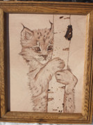 Cat Art Pyrography Prints - Bobcat Kitten Curiosity Print by Angel Abbs-Portice