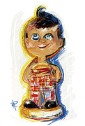 Collectible Mixed Media Prints - Bobs Big Boy Bobble Head Print by Russell Pierce