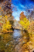 Reflections In Water Prints - Bobs Creek From The Bridge Print by Lois Bryan