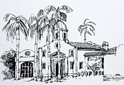 Hall Drawings Prints - Boca Raton City Hall Building  Print by Robert Birkenes