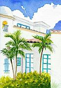 Hall Painting Prints - Boca Town Hall Print by Anne Marie Brown