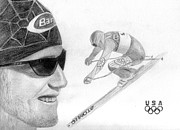 Ski Drawings Prints - Bode Miller Print by Pat Moore