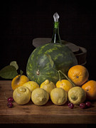 Luis Metal Prints - Bodegon - Watermelon-Citrus and Cooler Metal Print by Levin Rodriguez
