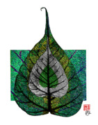 Tree Leaf Mixed Media Posters - Bodhi Leaf Poster by Peter Cutler