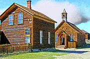 Bridgeport California Photos - Bodie Church Stylized Eastern Sierra Photo by Kim Hawkins Eastern Sierra Gallery