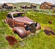 Gregory Dyer Posters - Bodie Ghost Town - Rusted Old Car 02 Poster by Gregory Dyer