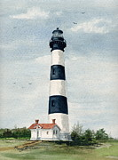 Outer Banks Paintings - Bodie Island Lighthouse by Nancy Patterson