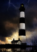Storm Digital Art Posters - Bodie LIghthouse Poster by Ron Jones
