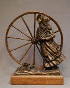 Girl Sculptures - Bodil Mortensen Bronze sculpture of pioneer girl by Stan Watts by Stan Watts