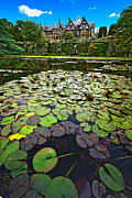 Water Garden Framed Prints - Bodnant House Framed Print by Meirion Matthias