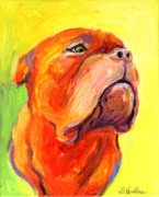 Custom Portraits Prints - Bodreaux Mastiff dog painting Print by Svetlana Novikova