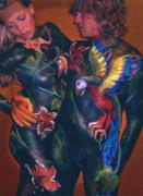 Body Paint Parrot Print by Michael Rutland