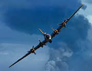 Historic Digital Art Prints - Boeing B-17 Flying Fortress Print by Adam Romanowicz