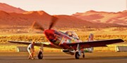 Speed Digital Art Originals - Boeing North American P-51D Sparky at Sunset in the Valley of Speed Reno Air Races 2010 by Gus McCrea