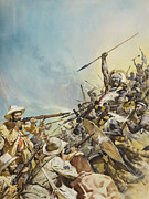 South Africa Painting Prints - Boers Fighting Natives Print by James Edwin McConnell
