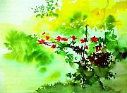 Peaceful Scenery Mixed Media Prints - Boganwel Print by Anil Nene