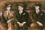 Trio Drawings Prints - Bogart Gangster Movie - Drawing Illustration Print by Peter Art Print Gallery  - Paintings Photos Posters