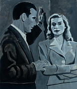 On Paper Paintings - Bogie and Bacall by Frank Strasser