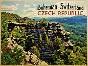Czech Digital Art Metal Prints - Bohemian Switzerland Czech Republic Metal Print by Vintage Poster Designs