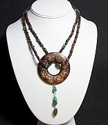 Wood Jewelry - Bohemian Wood and Turquoise Necklace by Audra Ferlan