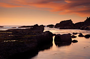 Low Tide Posters - Boiler Bay Sunset Poster by Mike  Dawson