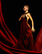 Lady In Red Prints - Bold and Red Print by Lourry Legarde