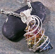 Wire Wrap Jewelry - BOLD Bismuth Crystal and Silver Wire-Wrapped Pendant by Heather Jordan
